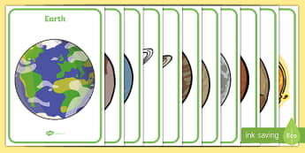 The Planets Display Posters - Space, planets, planet, A4, display, posters, moon, sun, earth, mars, neptune, pluto, uranus, jupiter, saturn