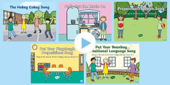 Positional Language Songs and Rhymes PowerPoints Pack - singing, song time, position, Prepositions, in, on ,under, above, below, between