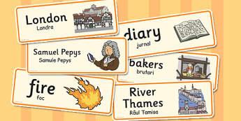 The Great Fire London Word Cards Romanian Translation - romanian