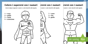 Colora con i Numeri i Supereroi - supereroi, eroi, colora, con, i numeri, colorare, fogli, italiano, italian