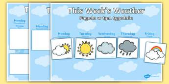 Weekly Weather Recording Chart English/Polish - Weekly Weather Recording Chart - weather, weather calendar, weekly weather calendar, weakly weather