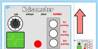 The Noisometer - Noise, level of noise, behaviour management, inside voices, quiet, class management, noise control, sound control
