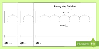 Bunny Hop Division by 6 Differentiated Activity Sheets - Repeated Subtraction, Number Line, Divide, Share, Steps