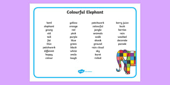 Colourful Elephant Word Mat (Text) - Elmer, Elmer the elephant, resources, Elmer story, patchwork elephant, PSHE, PSE, David McKee, colours, patterns, story, story book, story book resources, story sequencing, story resources, word mat, wri