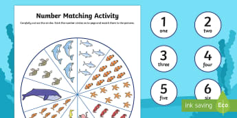 Number Matching Pegs Activity Under The Sea Themed - under the sea, match