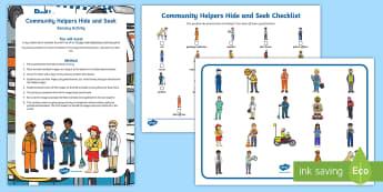 Community Helpers 'Hide and Seek' Sensory Activity  - EYLF, Australia, Sensory, Early Years, Early Childhood, Can You Find, Visual Discrimination, communi