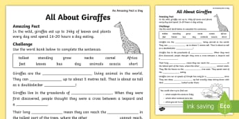 Cloze Procedure About Giraffes Activity Sheet - Amazing Fact Of The Day, activity sheets, powerpoint, starter, morning activity, June, cloze procedu