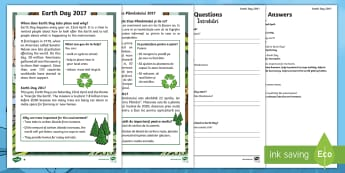 Earth Day Differentiated Reading Comprehension Activity English/Romanian - KS1, Earth Day, Environment, Pollution, Trees, Deforestation, Earth, Planet, Animals, Habitat, Carbo