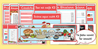 The Restaurant Role Play Resource Pack (Biachlár) Gaeilge - biachlar, restaurant, bialann, an bhialann, food, bia, role play, Aistear, menu, display, resource pack, irish, gaeilge, comhra