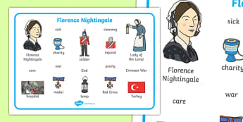 Florence Nightingale Word Mat - Florence Nightingale, word mat, mat, writing aid, nurse, lady with the lamp