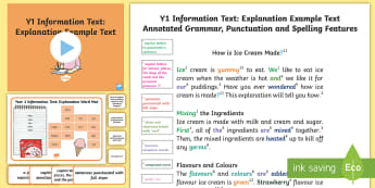 Y1 Information Texts: Explanation Model/Example Text - Example Texts Y1, exemplification, moderating, moderation, WAGOLL, non-fiction, sample, genre, examp, ARE, age-related example, model, model text, age-related model
