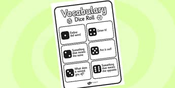 Vocabulary Dice Roll Activity - vocabulary, dice, dice rolling, dice rolling activity, activities, vocabulary activity, dice game, vocab, vocabulary game