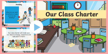 Class Charter PowerPoint - class rules, rights, decision making, back to school, start of term