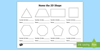 Name the 2D Shape KS1 Worksheet - worksheet, ks1, 2d shape, 2d