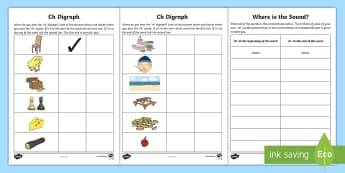 Identify the 'ch' Sound Activity Sheet - Ch, digraph, Blending, sounding out, Phonics, Writing task,Irish, Worksheet