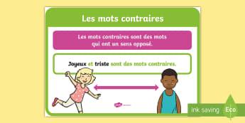 Affiche : Les mots contraires - cycle 2,cycle 3, Classroom Organisation, organisation de la classe, poster, affiche, display, contra
