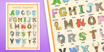 Animal Alphabet Large Display Poster with Words - animal, alphabet, display, poster