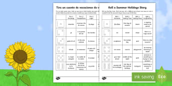 Roll a Summer Holidays Story Storyboard Template English/Spanish - End of Year, summertime, summer, summer holidays, story writing, roll a story,Australia, EAL, Englis