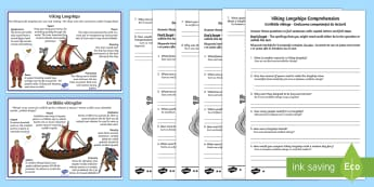 Vikings Longships Differentiated Reading Comprehension Activity Romanian/English