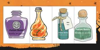 Editable Halloween Potion Bottles (A4): Editable Drawer, Peg, Name Labels English/Spanish - Halloween, editable bottles, bottles, potion, magic, wizard, witch, poison, concoction, EAL