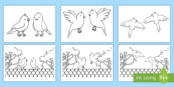 Two Little Dickie Birds Colouring Page Gaeilge - Gaeilge, Irish, nursery Rhymes, two little dickie birds, Dhá Éinín Bheaga, dhá éinín bheaga, Irish