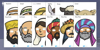 Nativity Role Play Masks - Nativity, Role Play Mask, Christmas Story, xmas, Visual Aids, Mary, Joseph, Jesus, shepherd, wise men, Herod, angel, donkey, stable, Gabriel, First Christmas,Inn, Star, God
