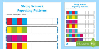 Stripy Scarves Repeating Patterns Activity Sheet - EYFS, Early Years, KS1, Key Stage 1, Clothes, Clothing, Scarf, Winter, Maths, Mathematics, Numeracy,