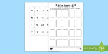 Ordering Numbers 1 20 Game English/Spanish - Ordering Numbers Game 1 to 20 - order, number, maths, activity, numbes, nubers, matsh, seriation. EA
