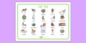 Calf Club Word Mat