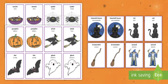 Halloween Pairs Matching Game English/Portuguese - EAL, comparing, fun activity, KS1, early years, mathching