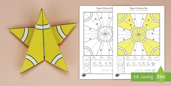 Simple Origami Christmas Star Paper Craft US English/Spanish (Latin) - 3D paper craft, paper craft, Christmas, Christmas tree, ESL