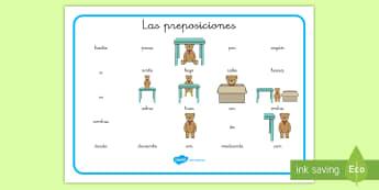 Tapiz de vocabulario: Las preposiciones - tapiz de vocabulario, preposiciones, preposición, vocabulario, lengua, castellano, español, ,Spani