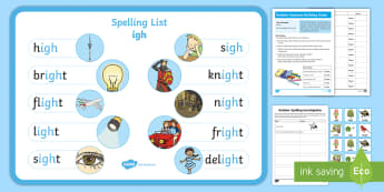 Outdoor 'igh' Bumper Spelling Pack - CfE, Outdoor Learning, nature, forest, woodland, playground,Scottish