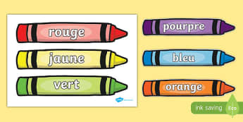 Colour Words on Crayons French - french, Crayon, colour display, colour posters, colour, display, poster, posters, colour mixing, black, white, red, green, blue, yellow, orange, purple, pink, brown