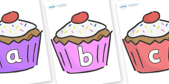 Phase 2 Phonemes on Cupcakes - Phonemes, phoneme, Phase 2, Phase two, Foundation, Literacy, Letters and Sounds, DfES, display