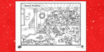 Crazy Christmas Coloring Challenge Activity Sheet - Christmas, color, coloring, activity, art, challenge worksheet