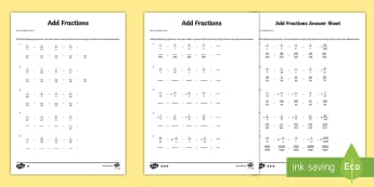 Year 6 Add Fractions Sheet 1 Activity Sheet - new curriculum, year 6, fractions, add fractions, add, addition, maths, worksheet