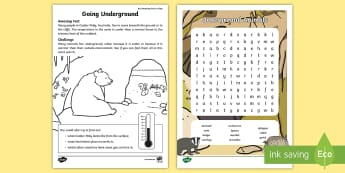 Going Underground Word Search - amazing fact august, animals, creatures, burrowing, warm, cold, amazing fact, worksheet