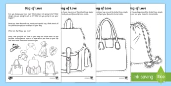 My Bag of Love Activity Sheet  - young people, emotions, bereavement, families, change, transition, PSHCE, worksheet