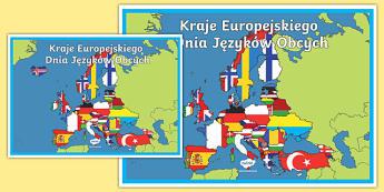 Plakat A2 Kraje Europejskiego Dnia Jezyków Obcych po polsku