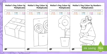 Year 3 Mother's Day Multiplication Colour by Number - Mother's Day Maths, maths, mother, mother's day, mum, colour by number, multiplication, year 3 mat