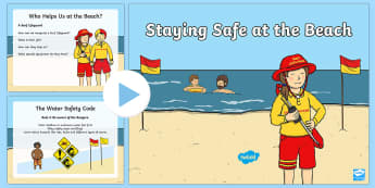 Beach Safety PowerPoint - NZ Summer - Sun & Beach Safety, rips, lifeguard, rip