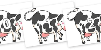 Numbers 0-31 on Hullabaloo Cow to Support Teaching on Farmyard Hullabaloo - 0-31, foundation stage numeracy, Number recognition, Number flashcards, counting, number frieze, Display numbers, number posters