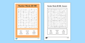 Number Words 20 to 100 Word Search - number words, number, words, 20, 100, word search