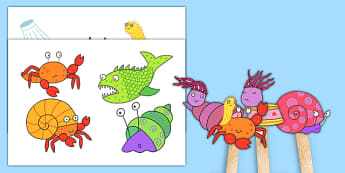 Stick Puppets to Support Teaching on Sharing a Shell - roleplay, puppets, stories, books