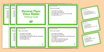 Decimal Place Value Riddle Challenge Cards - Decimal, Place Value, Riddle, Digits, tenths, hundredths