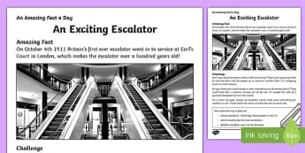 An Exciting Escalator Activity Sheet, worksheet