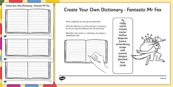 Key Vocabulary Create Your Own Dictionary to Support Teaching on Fantastic Mr Fox-Scottish