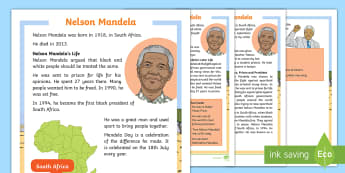 KS1 Nelson Mandela Differentiated Fact File - Black History, Mandela Day, President, South Africa, Information