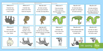 'What Am I?' Animal Themed Guessing Game Cards - English/German - animals, SEN, games, vocabulary, EAL, German, English-German,,German-translation